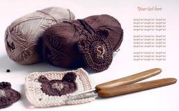 Crocheted teddy bear pattern motives Royalty Free Stock Photos