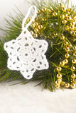 Crocheted white star Royalty Free Stock Photography