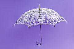 Crocheted white umbrella Royalty Free Stock Image