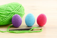 Crocheting easter eggs Royalty Free Stock Photo