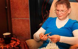 Crocheting Lady Stock Photos