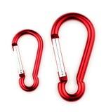Crochets extrêmes extérieurs de sports de petit et grand carabiner Photo stock
