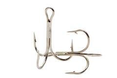 Crochets triples pour la pêche Photo stock
