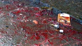 Crochets triples utilisés pour pêcher la pose dans le sang photographie stock