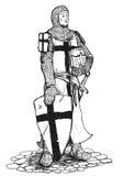Crociato con la spada e lo schermo Immagine Stock