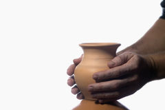 Crock. Hand made clay jug. the beauty of art. the creation of beauty. Because clay is a pitcher. Hands can revive. Master works. Work cures disease. how to Stock Photography