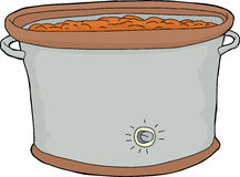 Crock Pot with Food. Cartoon slow cooker with food over white background Stock Image