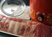 Crock Pot Spareribs. Spareribs, ready to prepare for cooking all day in the slow cooker stock images
