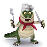 Crock ready to cook. 3d render cartoon of croc collection Royalty Free Stock Image