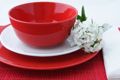 Crockery. 3 kind of red and white plates with a white flower Stock Images