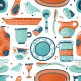 Crockery bezszwowy wzór Domowa akwareli kuchnia i kulinarny tableware puchar rozdajemy ceramicznego filiżanka miotacza tło ilustracja wektor