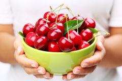 Crockery with cherries Stock Image