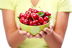 Crockery with cherries. Stock Photos
