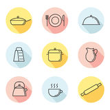 Crockery and cooking colored circle outline icons set. Part one. Royalty Free Stock Image