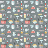 Crockery and cooking flat seamless vector pattern. Royalty Free Stock Images