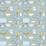 Crockery and cooking (food and dishes) multicolored seamless vector pattern Stock Images