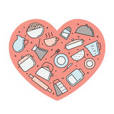 Crockery and cooking multicolored heart illustration. Clean and simple outline design. Royalty Free Stock Images