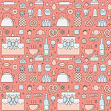 Crockery and cooking (sweets and pastries) seamless outline vector pattern Royalty Free Stock Photography