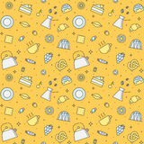 Crockery and cooking (tea and coffee) seamless vector pattern (yellow). Clean and simple outline design. Royalty Free Stock Images
