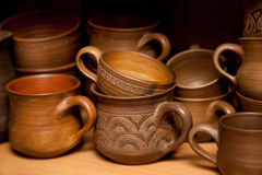 Crockery handmade from clay Royalty Free Stock Images