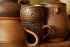 Crockery handmade from clay Stock Image