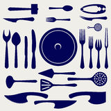 Crockery icons set on grey background Royalty Free Stock Image