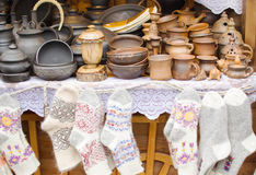 Crockery and knitwear Stock Image