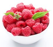 Crockery with raspberries. Royalty Free Stock Photos