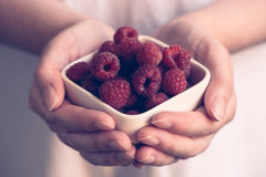 Crockery with raspberries in woman hands. Selective focus Stock Photos