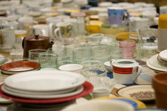Crockery. Sale of dishes on sale Royalty Free Stock Images
