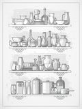 Crockery on shelves. Different kitchen dinnerware on shelves, vector illustration Stock Photography