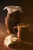Crockery in table. Village stock photography