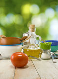 Crockery and tomato closeup Stock Images