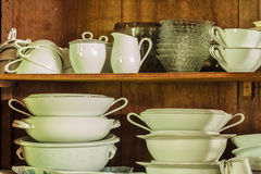 Crockery in the wood larder Stock Photography