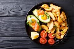 Crockpot avokado som är välfylld med ägg och lax, tomater och pota Arkivbild