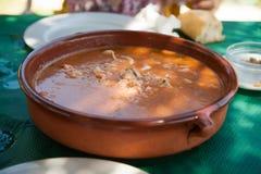 Crockpot med sopparis med fisken och räkor Royaltyfria Bilder