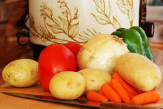 Crockpot and Vegetables Royalty Free Stock Image
