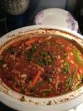 Crockpot wypełniał z wyśmienicie zdrowie weganinu organicznie glutenu minestrone bezpłatną polewką Fotografia Royalty Free