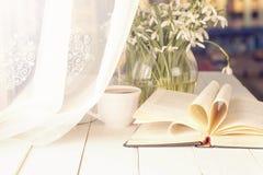 Croco bianco con il libro aperto sul fondo di davanzale Immagine Stock Libera da Diritti