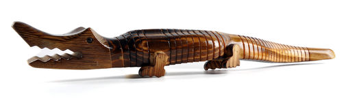 Crocodile. Making of wooden crocodile for playing childran Stock Images