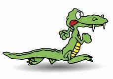 Crocodile. Green crocodile run in isolated white background illustration royalty free illustration