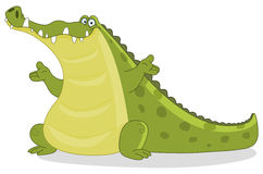 Crocodile. Illustration of a crocodile presenting with his hands Stock Photo