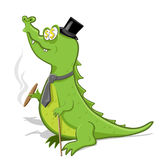 Crocodile. Illustration, green crocodile with cigar and walking stick stock illustration