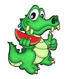 Crocodile. Illustration of crocodile holding melon stock illustration