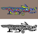 Crocodile. Abstract crocodile with ball. Graphic decor Stock Photos