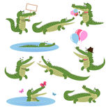 Crocodile Daily Activities Set. Cartoon Predator. Crocodile daily activities set. Funny predator in cartoon style. Cheerful green alligator swim, with flowers Stock Images