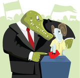 Crocodile Agitating The Sheep To Vote. Royalty Free Stock Photography