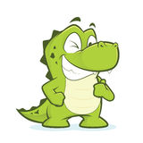 Crocodile or alligator giving thumbs up and winking. Clipart picture of a crocodile or alligator cartoon character giving thumbs up and winking royalty free illustration