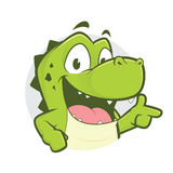 Crocodile or alligator with gun finger gesture and circle shape. Clipart picture of a crocodile or alligator cartoon character with gun finger gesture and circle Royalty Free Stock Photography