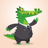 Crocodile, alligator ou dinosaure mignon de bande dessinée portant le costume noir d'homme d'affaires Illustration de vecteur Image libre de droits